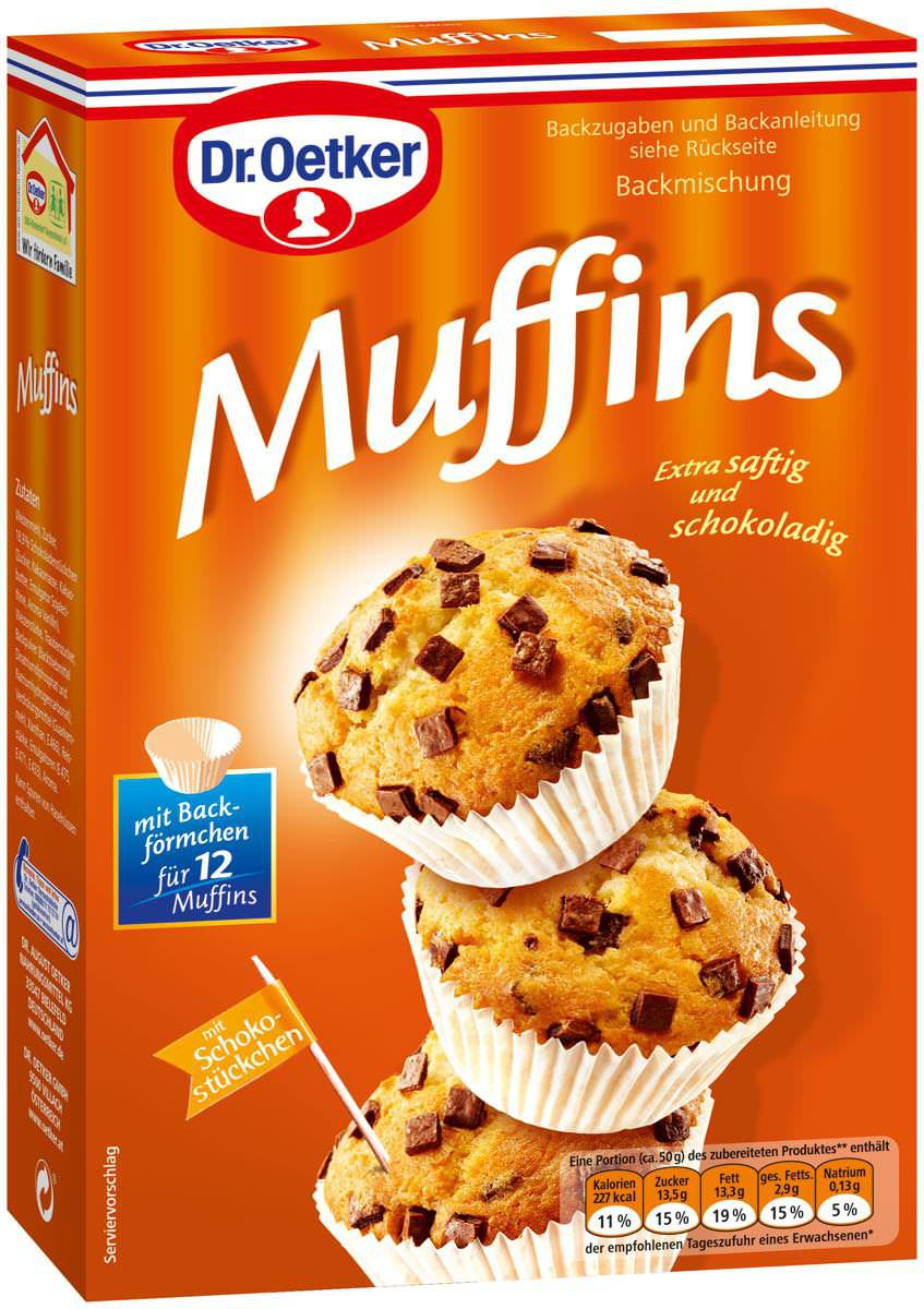 dr oetker muffins backmischung 370g feinkost lebensmittel pudding backzutaten dr oetker. Black Bedroom Furniture Sets. Home Design Ideas