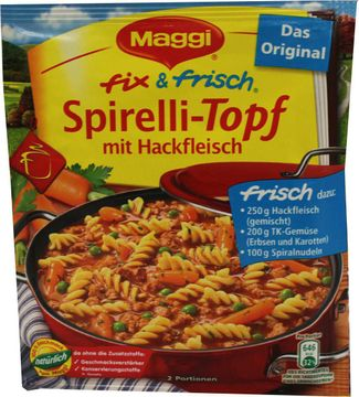 Knorr Fix Frisch Spirelli-Topf mit Hackfleisch 43g – Bild 1