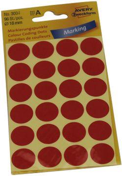 Avery Etikett Markier Punkt rot 18mm
