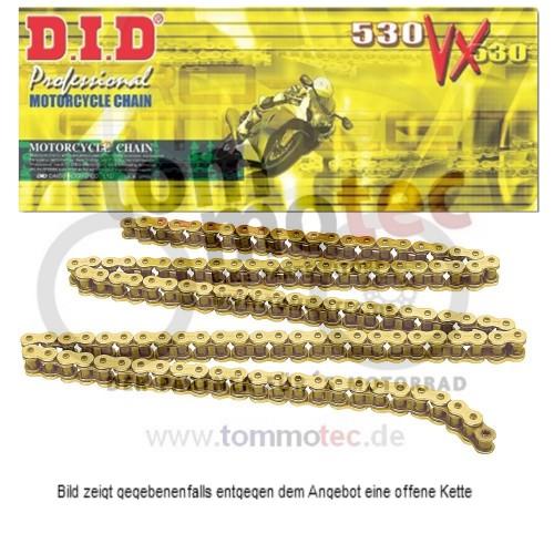 offen mit Nietschloss DID Kette 530 VX 108 Glieder X-Ring gold
