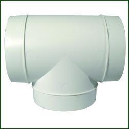 Ventilution T-Stück, Kunststoff, für ø 125 mm, L = 198 mm
