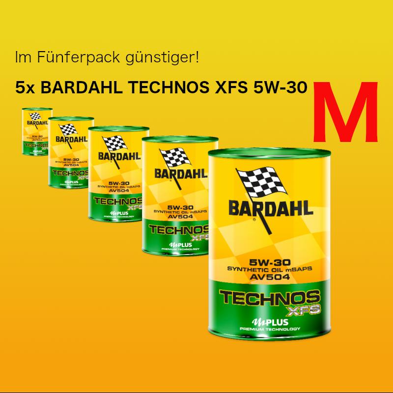 [Paket] Fünferpaket: BARDAHL TECHNOS C60 XFS Motor Oil 5W-30 (VW 504.00 - 507.00) - 5x1 Liter Dose
