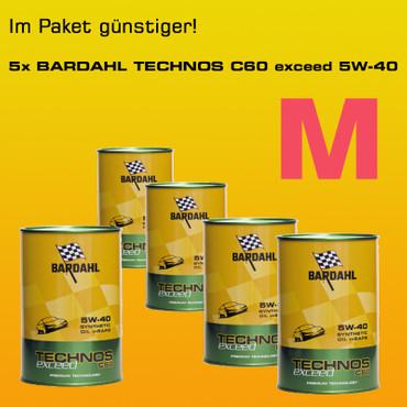 Fünferpaket: BARDAHL TECHNOS C60 Motor Oil 5W-40 exceed  - 5x1 Liter-Dose – Bild 1