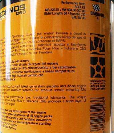 "Diesel Performance Ölwechselpaket ""L"": 8x BARDAHL TECHNOS C60 Motor Oil 5W-30 exceed (VW 504.00 - 507.00) + 2x BARDAHL FULL METAL + 1x BARDAHL Motorspülung – Bild 2"