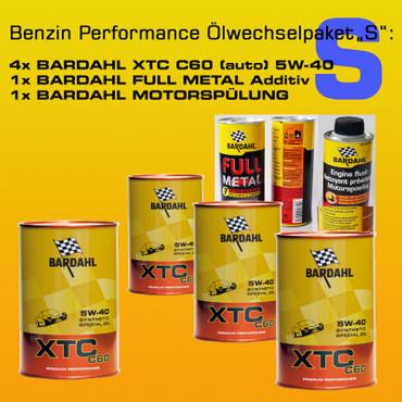 "BENZIN PERFORMANCE Ölwechselpaket ""S"": 4 x BARDAHL XTC C60 MOTOR OIL 5W-40  (VW 502.00 - 505.00) + BARDAHL FULL METAL + BARDAHL MOTORSPÜLUNG – Bild 1"