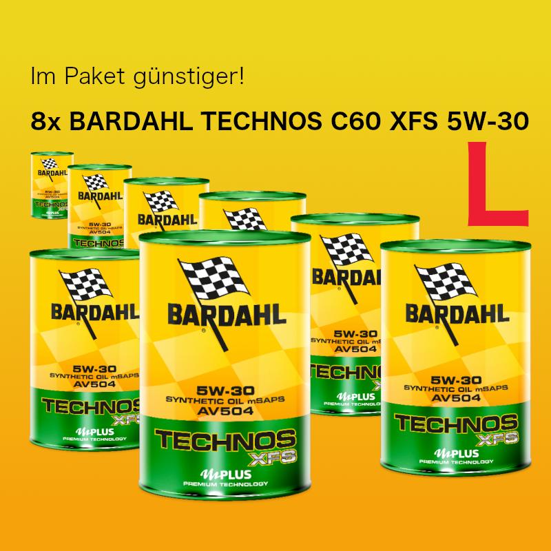 [Paket] Paket L: BARDAHL TECHNOS C60 XFS Motor Oil 5W-30 AV504 (VW 504.00 - 507.00) - 8x1 Liter Dose