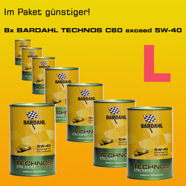 Paket L: BARDAHL TECHNOS C60 Motor Oil 5W-40 exceed  - 8x1 Liter-Dose