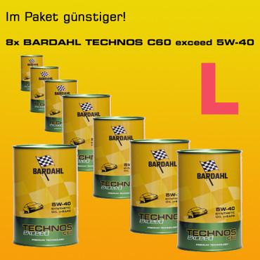 Paket L: BARDAHL TECHNOS C60 Motor Oil 5W-40 exceed  - 8x1 Liter-Dose