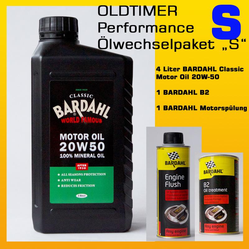"[Paket] OLDTIMER Performance-Ölwechselpaket ""S"": 4 x BARDAHL Classic Motor Oil 20W-50  (API SF/CC) + BARDAHL B2 Motorölzusatz ""Der Klassiker""+ BARDAHL Motorspülung"