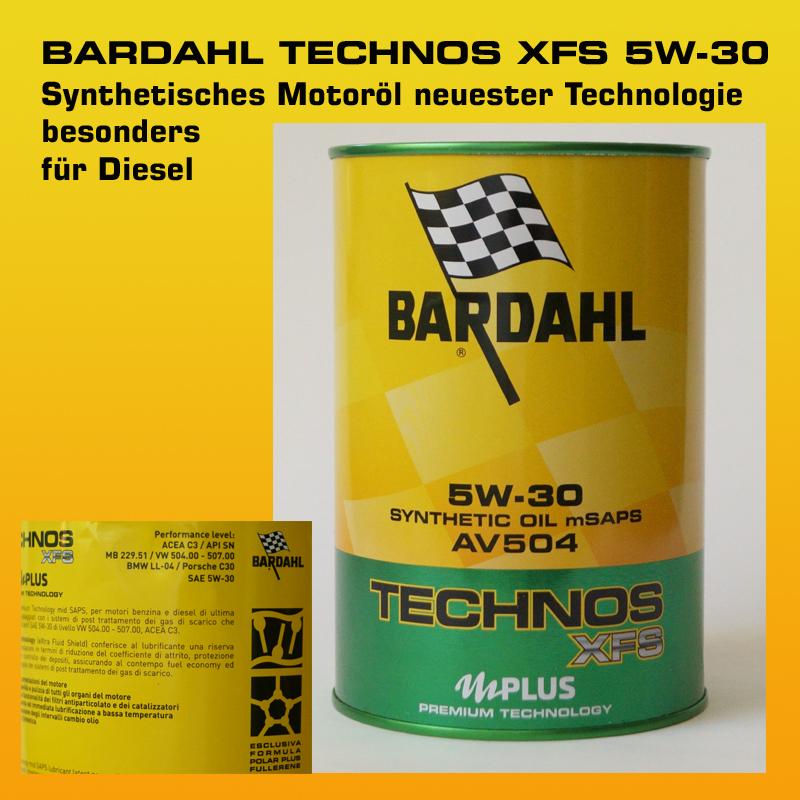 BARDAHL TECHNOS  XFS Motor Oil 5W-30 AV 504 mSAPS (VW 504.00 - 507.00) - 1 Liter Dose