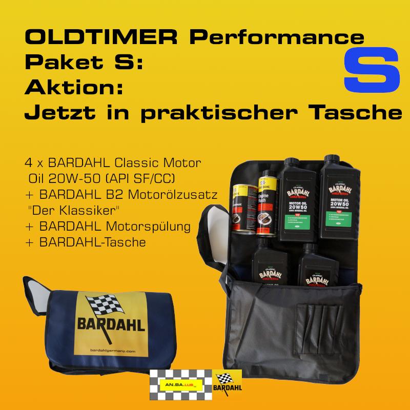 "[Paket] OLDTIMER Performance-Ölwechselpaket ""S"" mit Tasche: 4 x BARDAHL Classic Motor Oil 20W-50  (API SF/CC) + BARDAHL B2 Motorölzusatz ""Der Klassiker""+ BARDAHL Motorspülung"