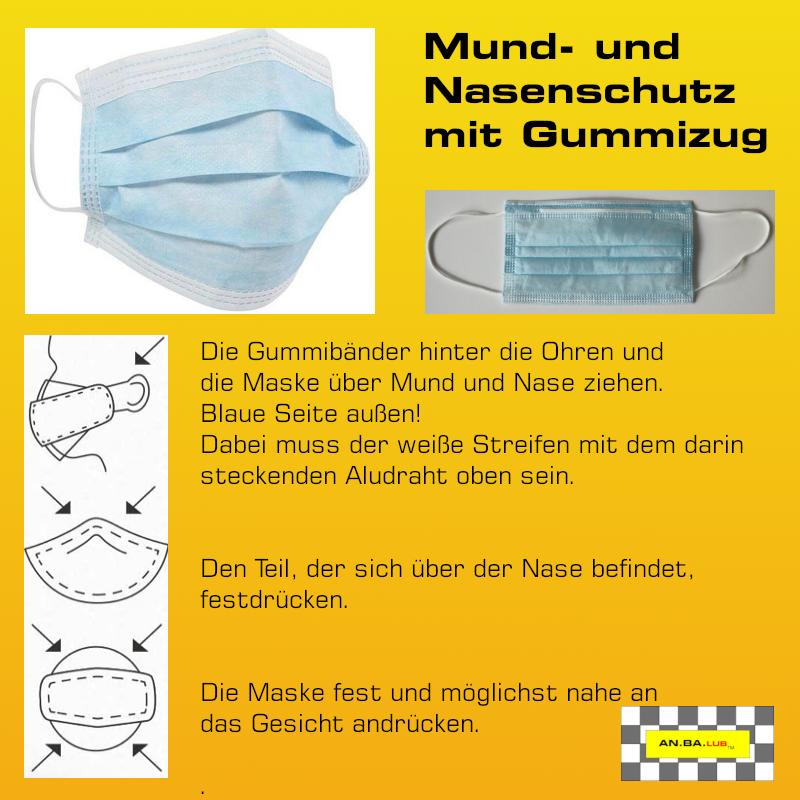 Mund- und Nasenschutz mit Gummizug - 1 Stück