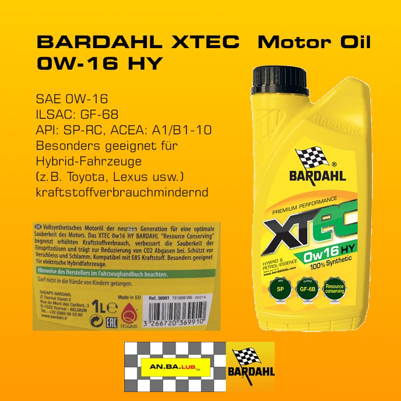 BARDAHL XTEC  Motor Oil 0W-16 HY - 1 Liter-Flasche