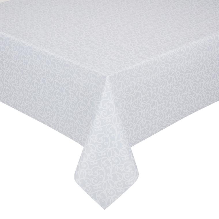 Peyer Tischdecke Barock mit Fleckschutz, verschiedene Größen, weiß-silber