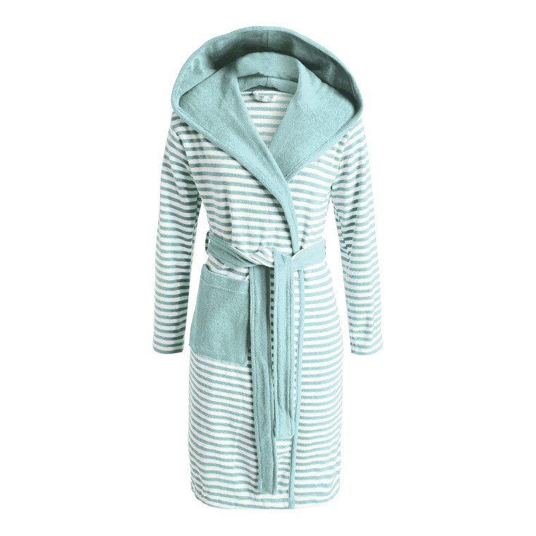Esprit Damen Bademantel Striped Hoodie, S - XL, mint gestreift