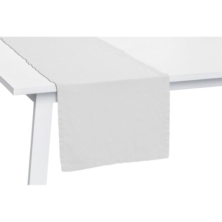 Pichler Tischläufer Lexa aus 100% Leinen, 50 x 150 cm, brilliantweiß