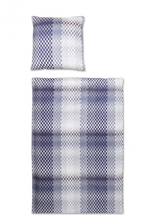 Covered Bettwäsche Chess, Mako-Satin, rauchblau, 200 x 200 cm