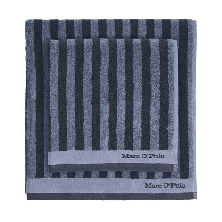 Marc O´Polo Classic Stripe Handtuch Duschtuch, marine/smoke blue