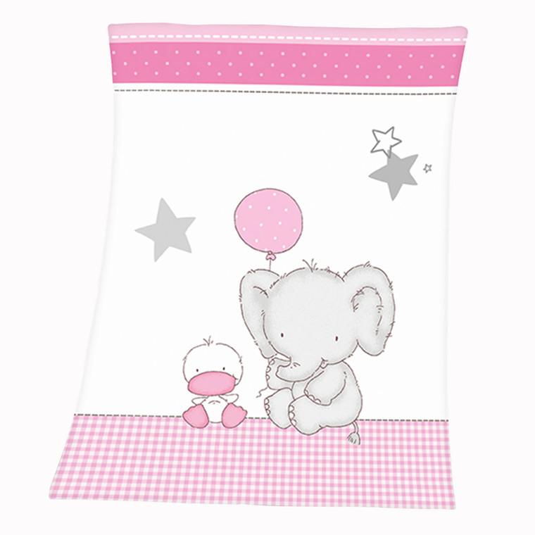 Herding Microfaserflausch Babydecke Elefant, 75x100 cm, rosa
