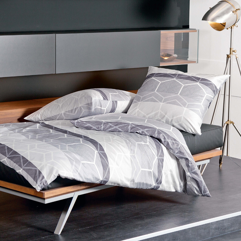 janine mako satin bettw sche moments 98017 08 silber graphit. Black Bedroom Furniture Sets. Home Design Ideas