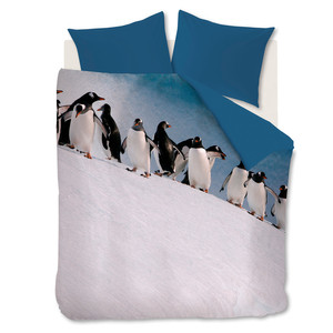 Ambiante Bettwäsche Penguins, Mikrofaser, ice blue – Bild 1