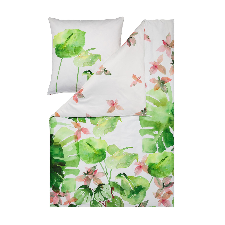estella mako satin bettw sche leaves gr n. Black Bedroom Furniture Sets. Home Design Ideas