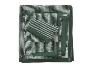 Marc O´Polo Timeless Stripe Waschhandschuh Gästetuch Handtuch Duschtuch, pine green/off white