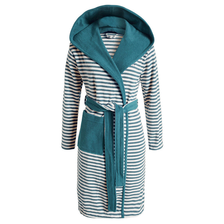 Esprit Damen Bademantel Striped Hoodie, S - XL, aqua gestreift