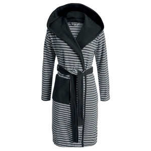 Esprit Damen Bademantel Striped Hoodie, S - XL, anthracite gestreift
