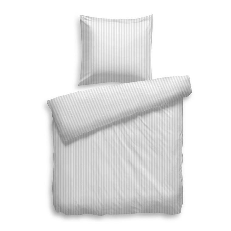 HNL Mako-Satin Bettwäsche Uni Stripe in Übergröße 200x200 cm, weiß