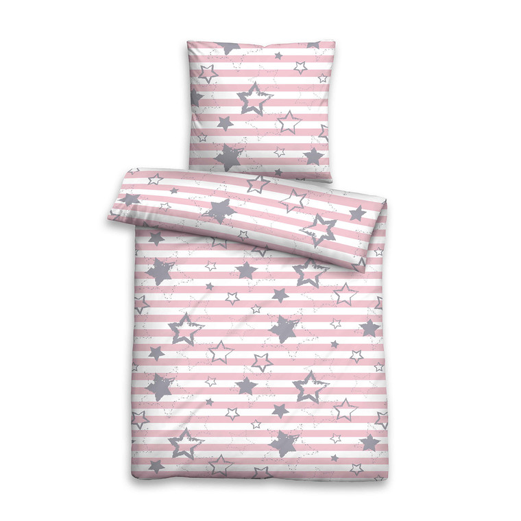 Biberna Baby- und Kinder-Bettwäscheaus warmen Biber, rosa