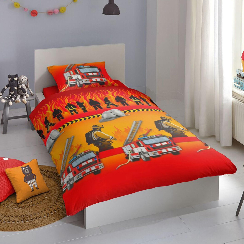 good morning kinder bettw sche fire dep 100 baumwolle rot. Black Bedroom Furniture Sets. Home Design Ideas