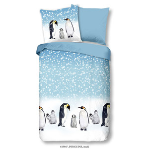 Good Morning Kinder Bettwäsche PENGUINS, 100% Baumwolle/Flanell, multi