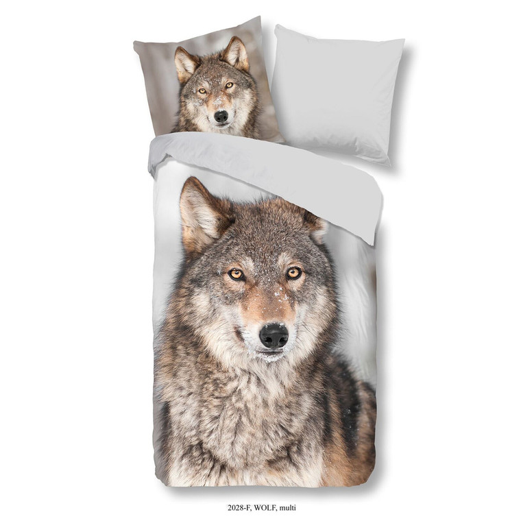 Good Morning Flanell Bettwäsche WOLF, grau/beige