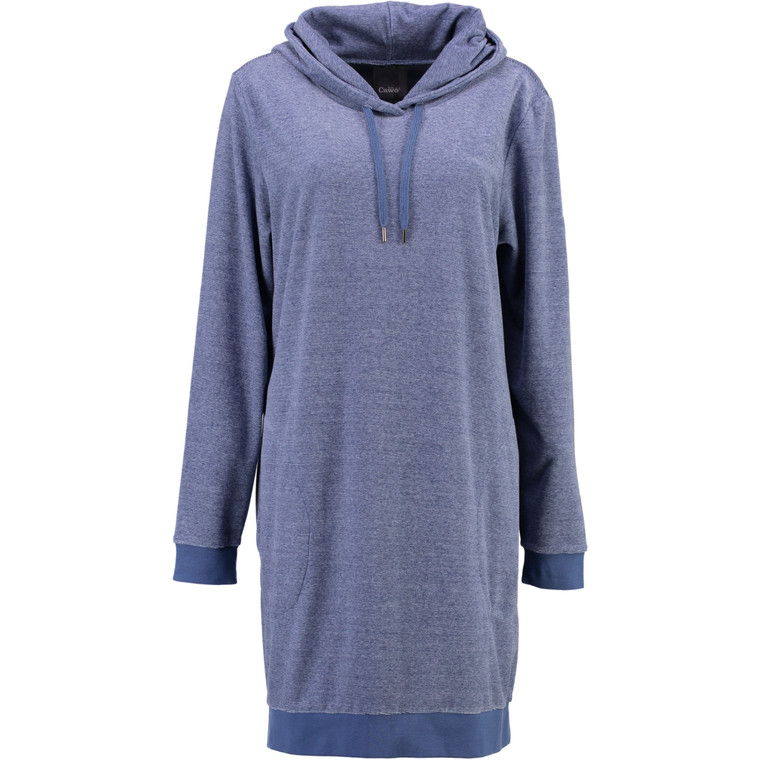 Cawö Velour Bademantel Long Hoodie 818-11, XS - XL, denim