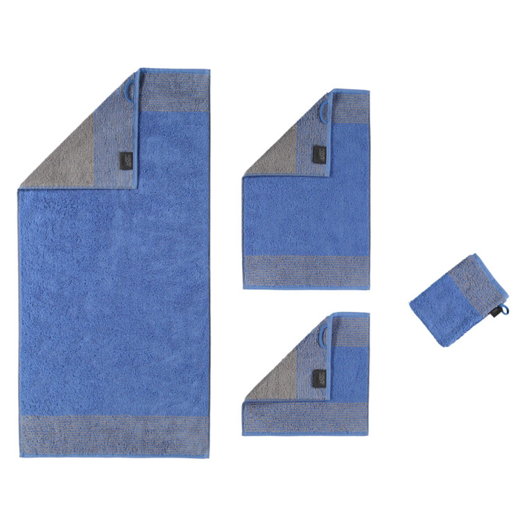 Cawö Two Tone Waschhandschuh Gästetuch Handtuch Duschtuch, Fb. 17 blau