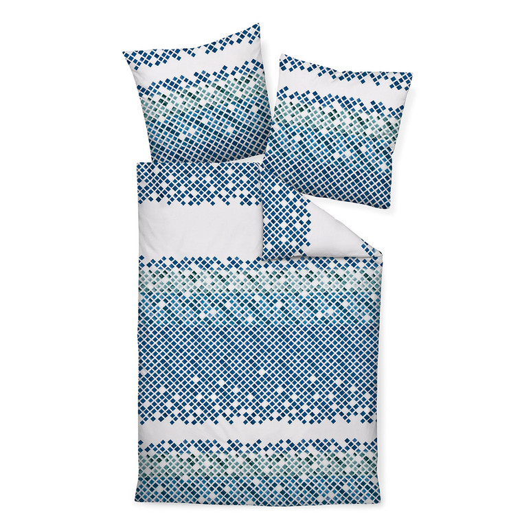 Janine Mako-Satin-Bettwäsche MOMENTS 98034-02, blau/aqua