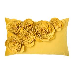 PAD Concept Samt Kissenhülle Floral, 30 x 50 cm, yellow