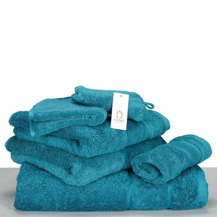 Living Dreams Waschhandschuh Gästetuch Handtuch Duschtuch LUXUS, Baumwolle 600g, uni smaragd