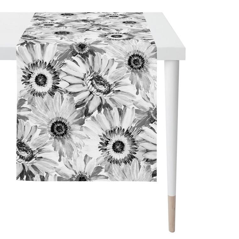 Apelt Tischläufer Mitteldecke SUMMER GARDEN, 48 x 140 cm, Fb. 89 schwarz/weiß/grau