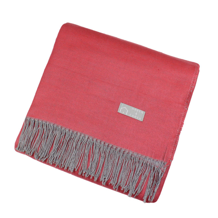 Haven & Earth Plaid Wohndecke AMANDA, coral-grau