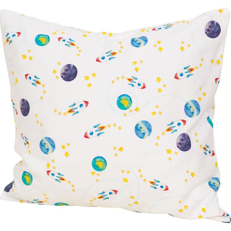 Smithy Baby Kissenbezug MONDFLUG aus 100% BIO-Baumwolle, 40 x 40 cm, weiß/multi