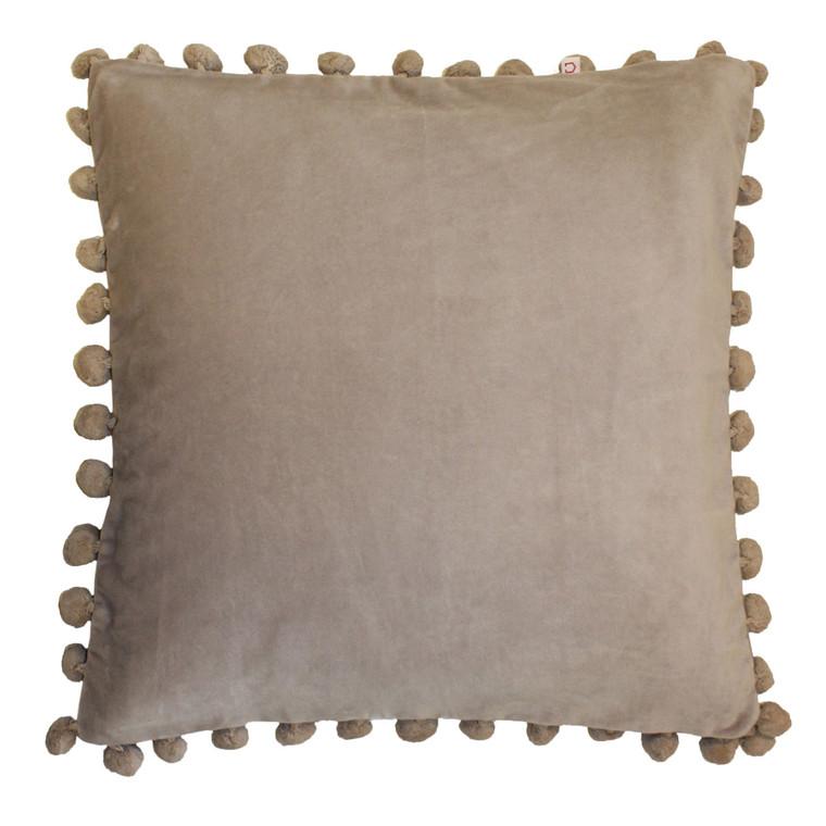 Living Dreams Kissenhülle mit BOMMELN, 45 x 45 cm, taupe