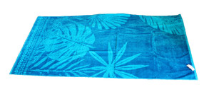 "Living Dreams Velour Strandtuch ""Leave"" 90 x 180 cm, blau"