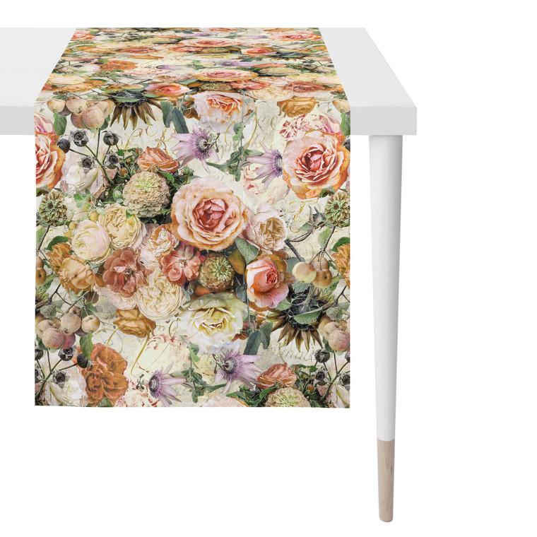 """Apelt Tischläufer """"Herbstzeit"""" mit Herbstrosen, 48x140 mehrfarbig"""