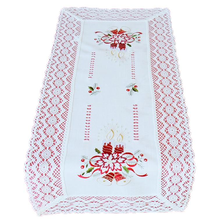 Raebel Tischläufer Mittedecke Tischband mit Häkelspitze, verschiedene Größen, weiß-rot