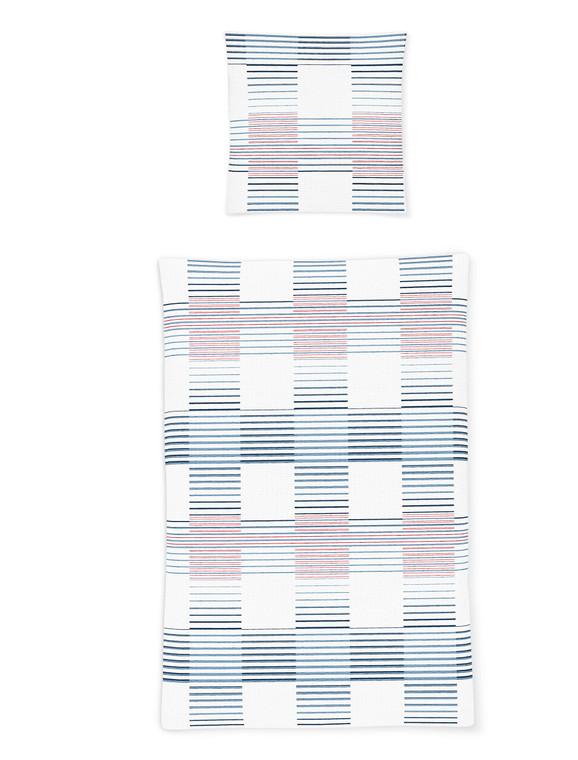 Irisette Seersucker-Bettwäsche CALYPSO 8168-20, rot-blau