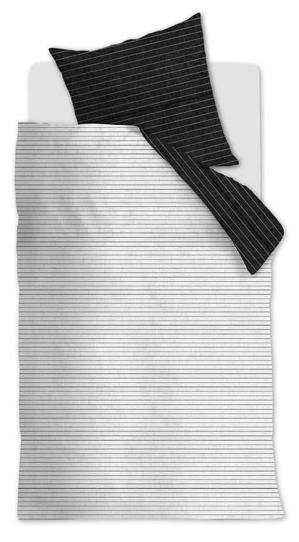 """At Home Renforcé-Baumwoll-Bettwäsche """"Notes Black White"""", schwarz/weiß"""