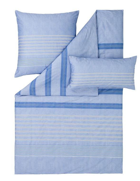 "Estella Mako-Satin-Bettwäsche ""Alvar"", blau"
