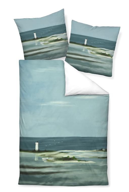 Janine Mako-Satin-Bettwäsche MODERN ART 42053-02, meerblau